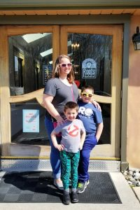the boys and I in front of the doors at Roots Cafe in Maple Shade, NJ