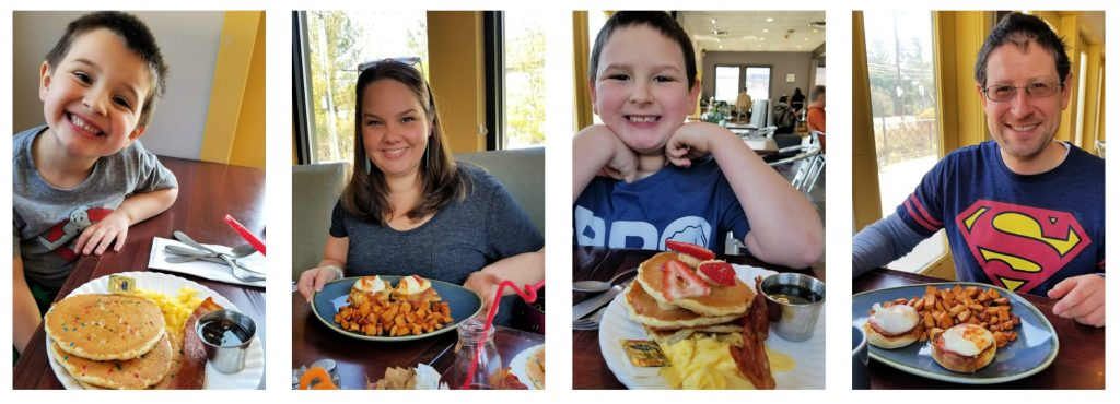 the four of us with our meals at Roots Cafe in Maple Shade, NJ