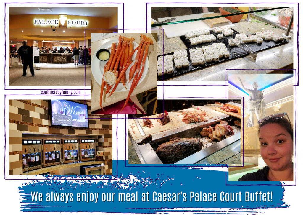 dinner at Caesar Casino Caesars Palace Court Buffet in Atlantic City, NJ