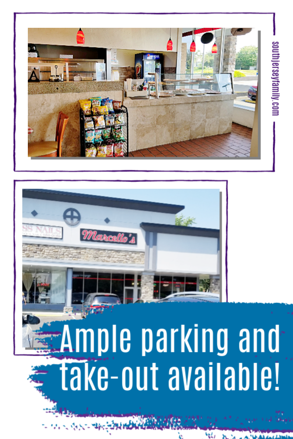 ample parking and take out at Marcellos in Marlton, NJ