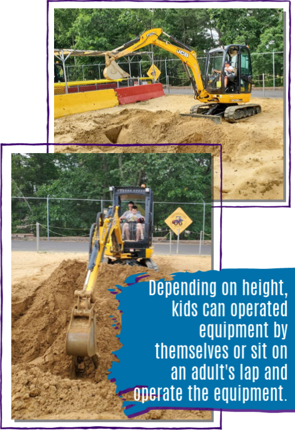 depending on height, kids can operate equipment by themselves or sit on laps at Diggerland USA in Berlin, NJ