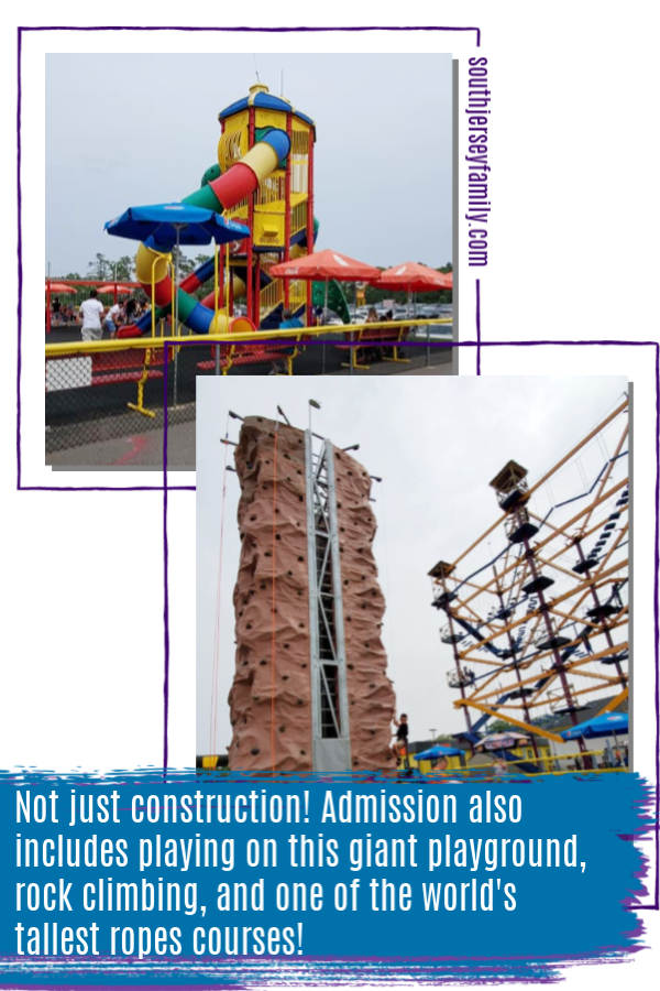 playground and ropes course is included in admission at Diggerland in Berlin, NJ
