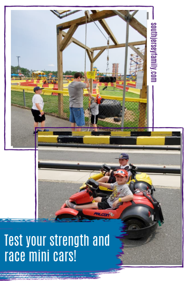 test your strength and race mini cars at diggerland in berlin new jersey
