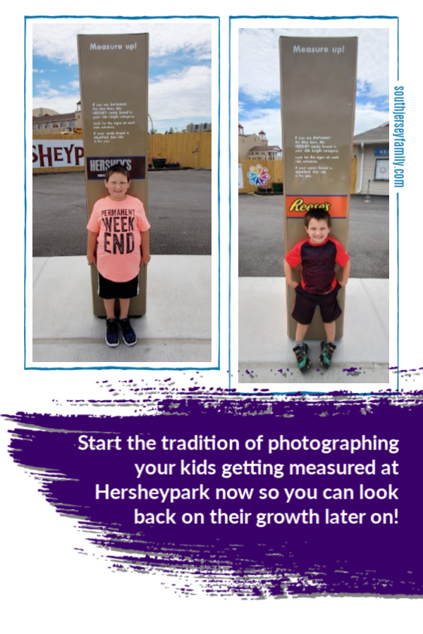 start the tradition of photographing your kids getting measured at Hersheypark now so you can look back on their growth later on