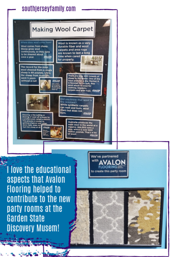 I love the educational aspects that Avalon Flooring contributed to the new party rooms at the Garden State Discovery Museum