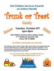 Autism-Friendly Trunk or Treat @ First Children Services-Strive Autism Center