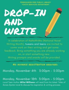 Drop-In & Write: Author Visit - M'Kai Williams @ Pennsauken Free Public Library