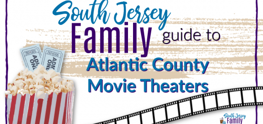 South Jersey Family guide to Atlantic County Movie Theaters image with movie reel and fresh popped popcorn